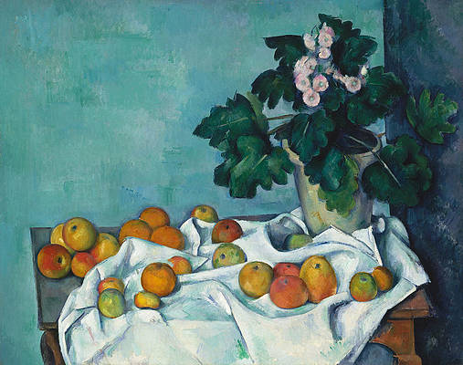 Still Life with Apples and a Pot of Primroses Print by Paul Cezanne