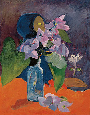 Still Life with Flowers and Idol Print by Paul Gauguin