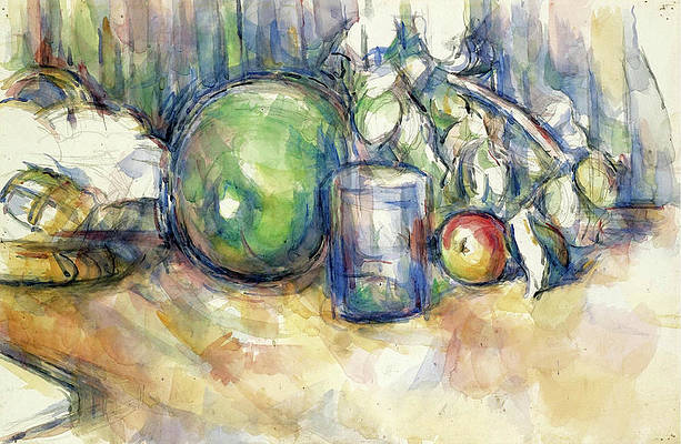 Still Life with Green Melon Print by Paul Cezanne