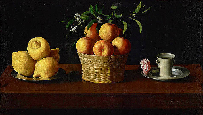 Still Life with Lemons Oranges and a Rose Print by Francisco de Zurbaran