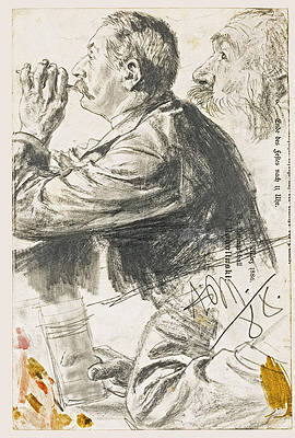 Studies of Figures in Profile Print by Adolph von Menzel