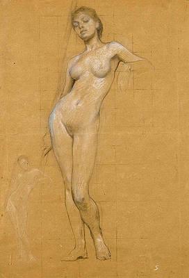 Study of a female nude Print by Herbert James Draper