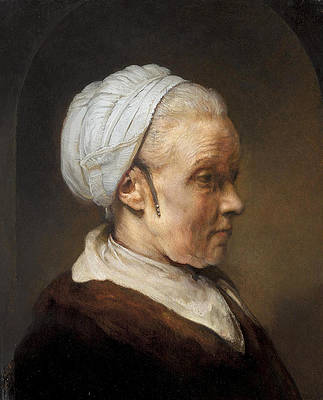 Study of an Elderly Woman in a White Cap Print by Rembrandt