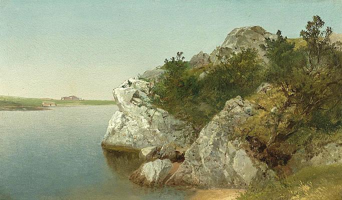 Study of Rocks. Newport Print by John Frederick Kensett