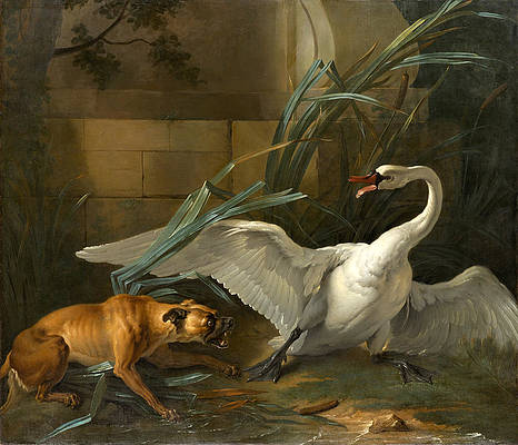 Swan Attacked by a Dog Print by Jean-Baptiste Oudry