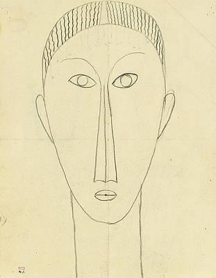 Tete de Face Print by Amedeo Modigliani