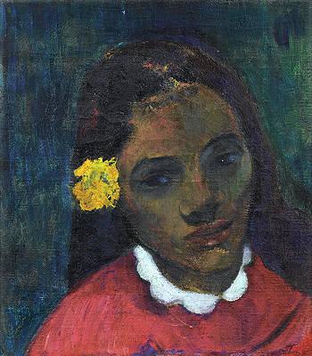 Tete De Tahitienne Or La Fleur Qui Ecoute Print by Paul Gauguin