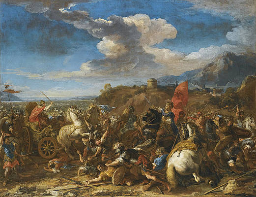 The Battle of Issus. Alexander the Great's Army defeats Darius and the Persians Print by Jacques Courtois