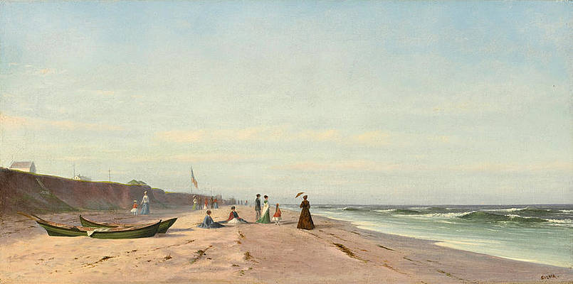 The Beach at Long Branch New Jersey Print by Francis Augustus Silva