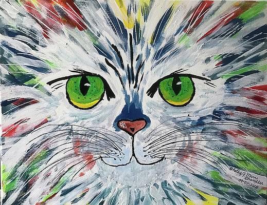 "ACEO Art Print Acrylic Painting /""Bubbles/"" Tuxedo Cat Purple"