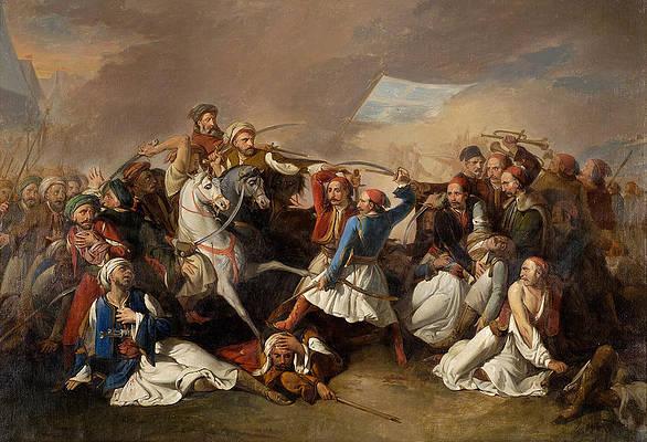The Death of Markos Botsaris Print by Filippo Marsigli