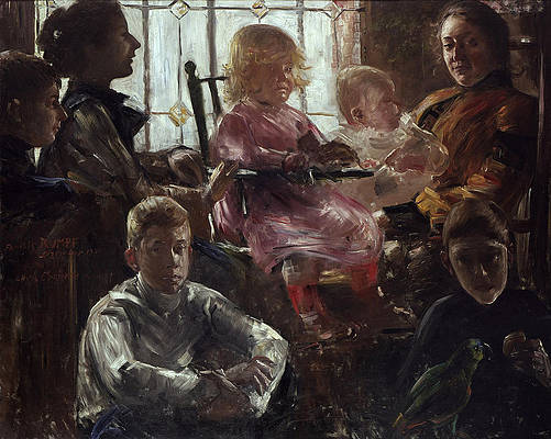 The Family of the Painter Fritz Rumpf Print by Lovis Corinth