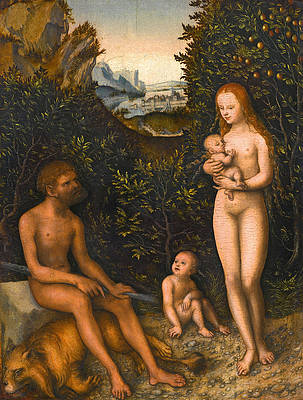 The Faun Family Print by Lucas Cranach the Elder