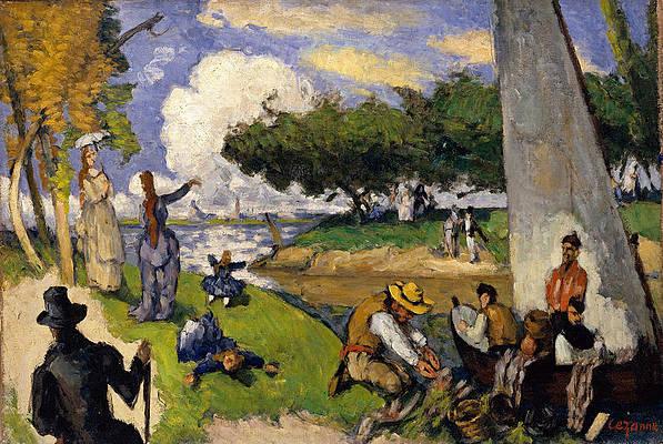 The Fishermen. Fantastic Scene Print by Paul Cezanne