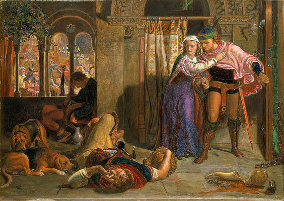 The flight of Madeline and Porphyro during the drunkenness attending the revelry Print by William Holman Hunt