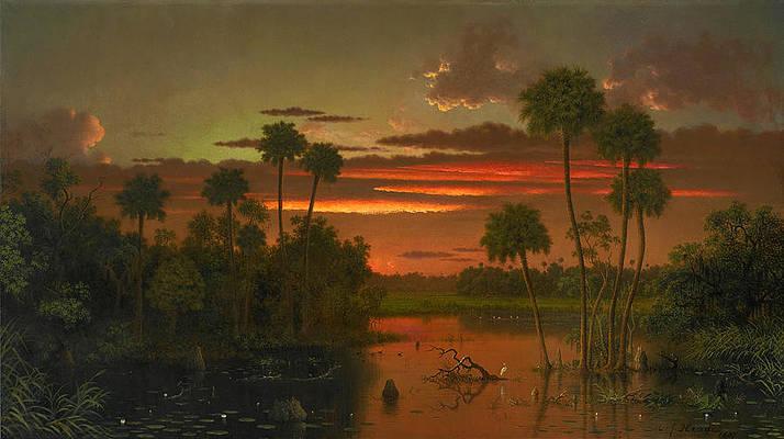 The Great Florida Sunset Print by Martin Johnson Heade