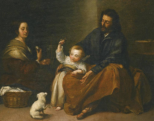 The Holy Family in an interior Print by Attributed to Bartolome Esteban Murillo