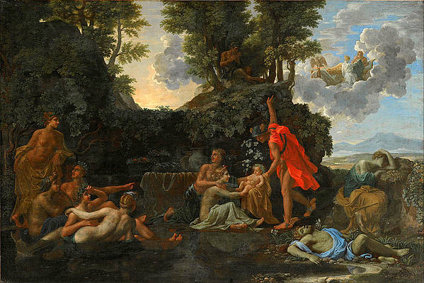 The Infant Bacchus Entrusted to the Nymphs of Nysa. The Death of Echo and Narcissus Print by Nicolas Poussin