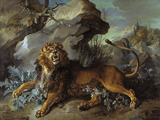 The Lion and the Fly Print by Jean-Baptiste Oudry