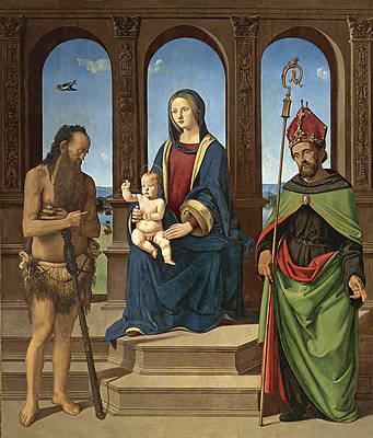 The Madonna and Child enthroned with Saints Onophrius and Augustine Print by Piero di Cosimo