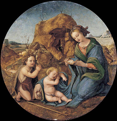 The Madonna and sleeping Christ Child with the Infant Saint John the Baptist Print by Piero di Cosimo