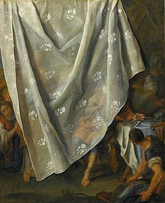 The Meeting of Alexander the Great and Roxana behind a Trompe-l'Oeil Curtain Print by Pietro Rotari