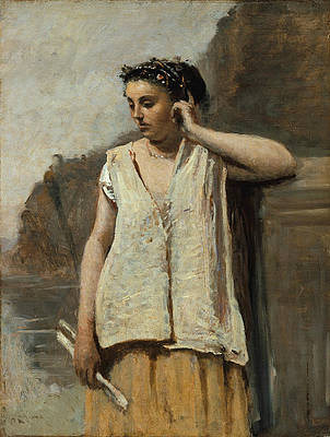The Muse. History Print by Jean-Baptiste-Camille Corot
