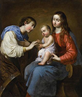 The Mystic Marriage Of Saint Catherine Of Alexandria Print by Francisco de Zurbaran