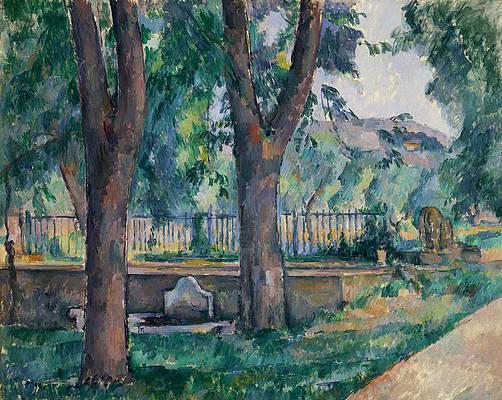 The Pool at the Jas de Bouffan Print by Paul Cezanne