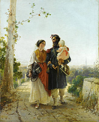 The Return from the Camp Print by Gerolamo Induno