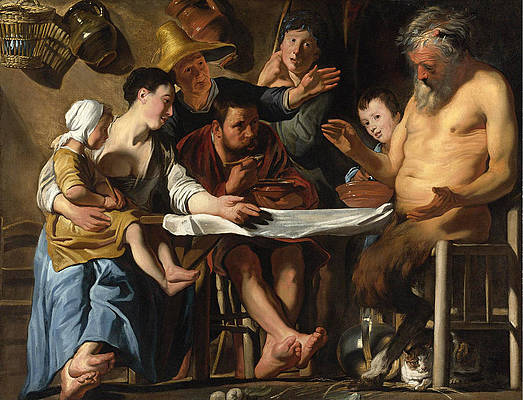 The Satyr and the Peasant Family Print by Jacob Jordaens