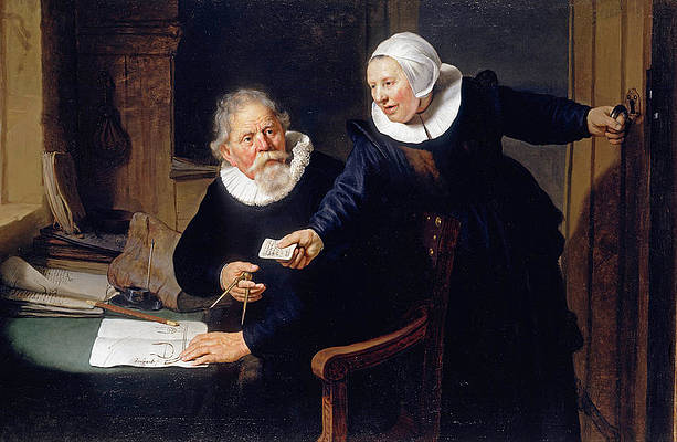 The Shipbuilder and his Wife. Jan Rijcksen and his Wife Griet Jans Print by Rembrandt