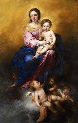 The Virgin of the Rosary Print by Bartolome Esteban Murillo