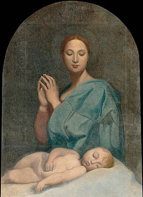 The Virgin with the Sleeping Infant Jesus Print by Jean-Auguste-Dominique Ingres