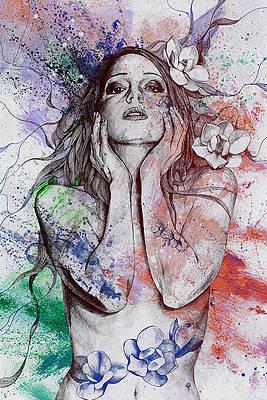 Реалистичный цветочный рисунок - Увядающая весна - вино от Марко Палуде