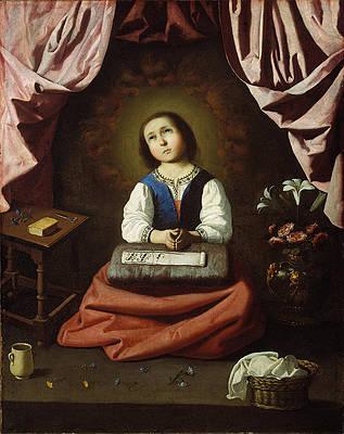 The Young Virgin Print by Francisco de Zurbaran