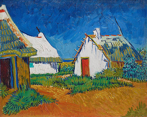 Three White Cottages in Saintes-Maries Print by Vincent van Gogh