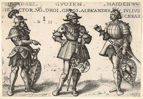 Three Worthy Pagan. Hector Alexander the Great and Julius Caesar Print by Daniel Hopfer