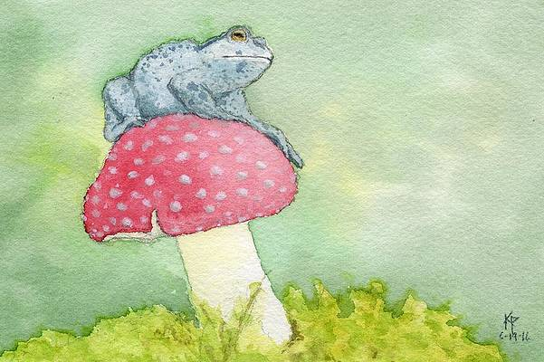 Hilda Sitting on Toadstool with Umbrella in Rain