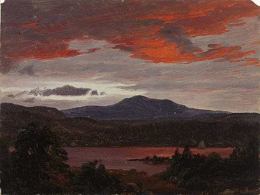Turner Pond with Pomola Peak and Baxter Peak. Maine Print by Frederic Edwin Church