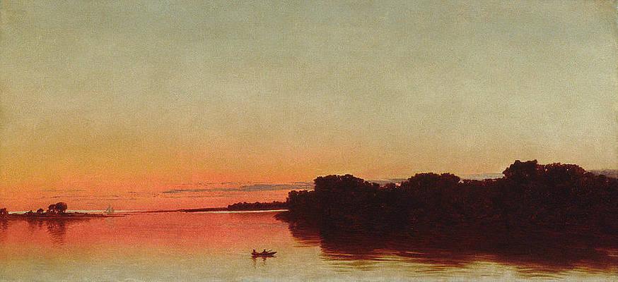 Twilight on the Sound. Darien Connecticut Print by John Frederick Kensett