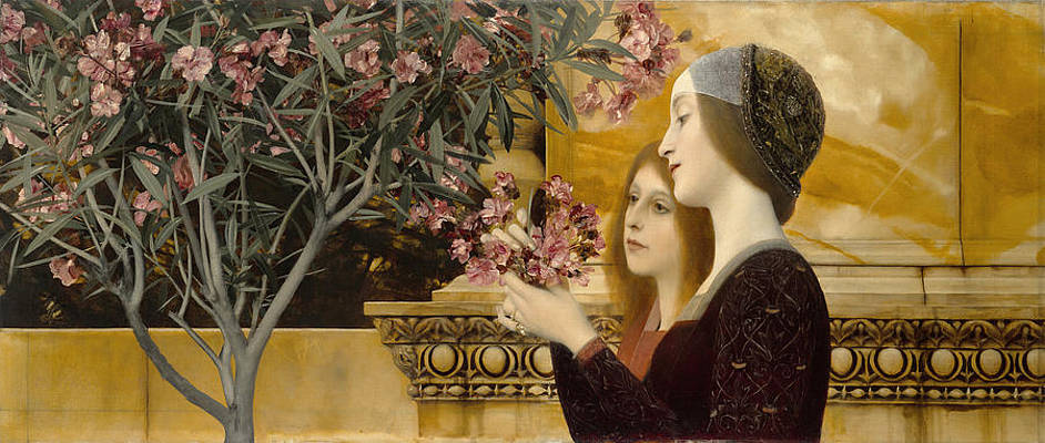 Two Girls with an Oleander Print by Gustav Klimt