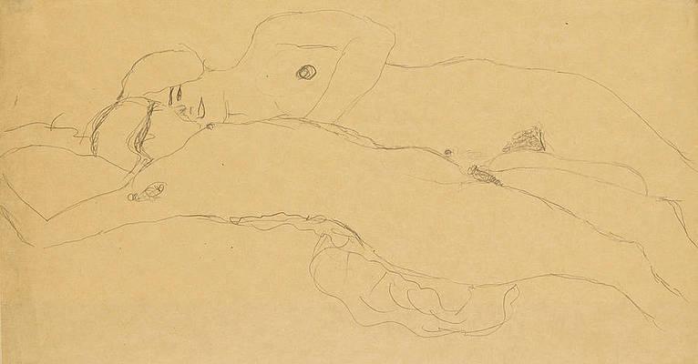Two Reclining Girls Print by Gustav Klimt