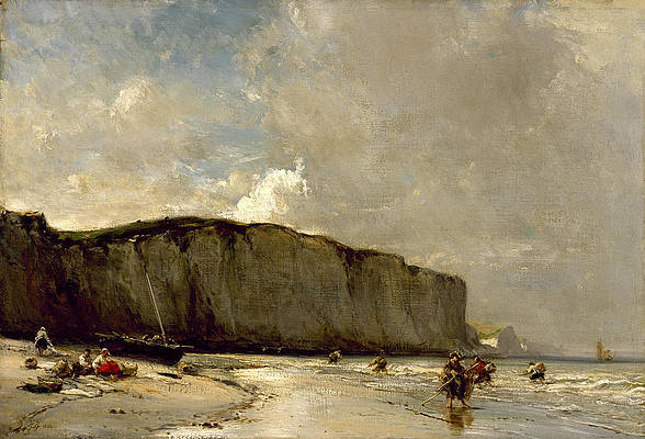 View Along the Norman Coast Print by Eugene Isabey