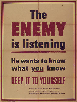 Loose Lips Sink Ships Painting - Vintage poster - The Enemy is Listening by Vintage Images