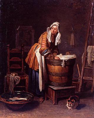 Washerwoman Print by Jean-Simeon Chardin