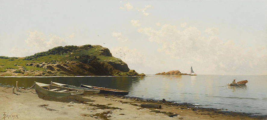 West Island. Seaconnett Point. Rhode Island. A Sunny day on the Coast Print by Alfred Thompson Bricher