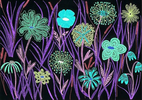 Wild Flower Drawing - Wild flowers illuminated by Sharon White