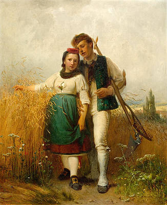 Young farming couple at the edge of a field Print by Karl Raupp