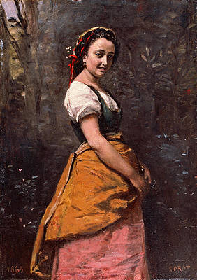 Young Woman in the Woods Print by Jean-Baptiste-Camille Corot